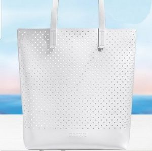 Clinique Bags - NWT PERFORATED WHITE VEGAN XLARGE BEACH TOTE